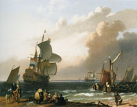 Ludolf Backhuysen Coastal Scene with a Man-of-War and Other Vessels