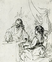 Rembrandt Christ Conversing with Mary in the House of Lazarus