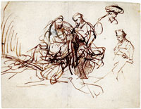 Rembrandt Study for the Martyrdom of a Female Saint