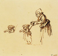 Rembrandt An Old Woman Teaching a Child how to Walk
