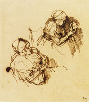 Rembrandt Two Studies of a Woman Reading