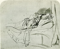 Rembrandt Study of Saskia Lying in Bed