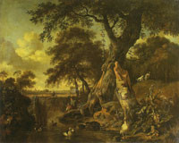 Jan Wijnants, Johannes Lingelbach and Dirck Wijntrack Stream pool with ducks and fishermen