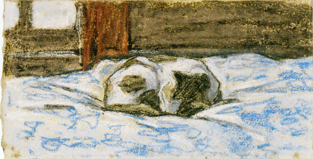 Claude Monet - Cat Sleeping on a Bed