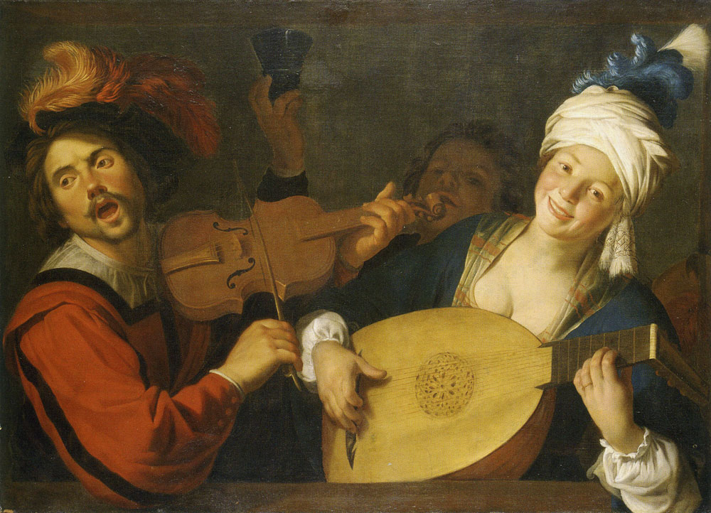 Gerard van Honthorst - Merry Group Behind a Balustrade with a Violin and a Lute Player