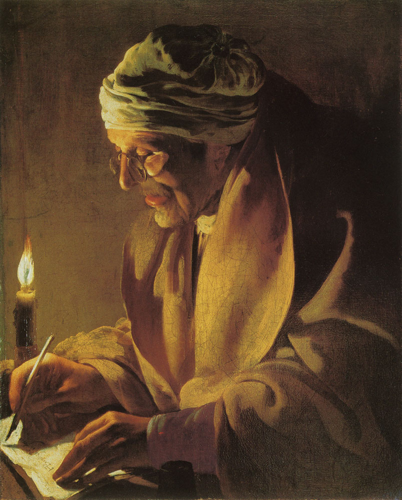 Hendrick ter Brugghen - Old Man Writing by Candlelight