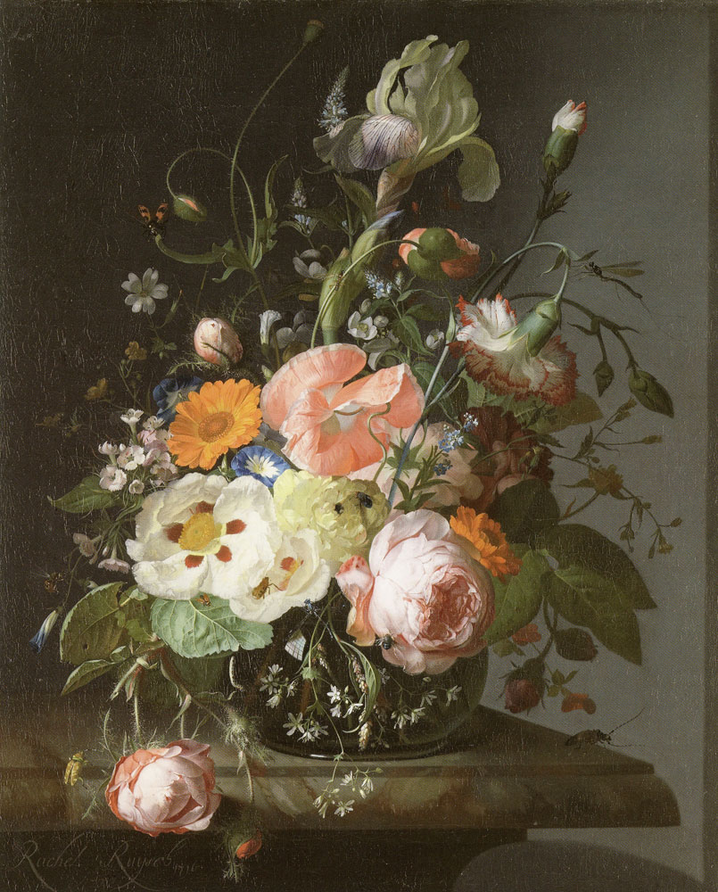 Rachel Ruysch - Still life with flowers on a marble tabletop