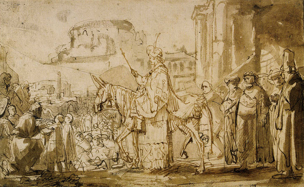 Rembrandt - Young Solomon Proclaimed King, Riding on the Mule