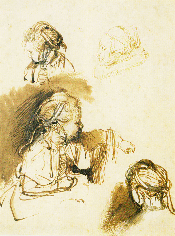 Rembrandt - Three Studies of a Child, One Study of a Woman