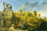 Attributed to Adriaen Brouwer Village scene with men drinking