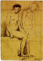 Arent de Gelder Two studies of a seated female nude