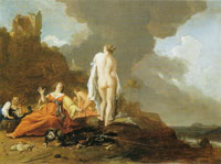 Bartholomeus Breenbergh Landscape with nymphs of the hunt