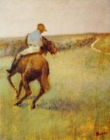 Edgar Degas Jockey in Blue on a Chestnut Horse