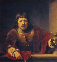 Ferdinand Bol A man with a glass of wine at a window