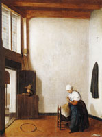 Jacobus Vrel Interior with a Woman Combing a Little Girl's Hair