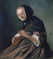 Jan Steen Woman Playing a Cittern