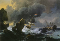 Ludolf Backhuysen Ships in Distress off a Rocky Coast