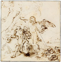 Rembrandt The prophet Elijah and the angel in the desert