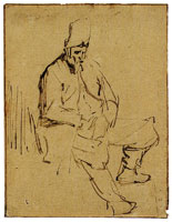 Rembrandt Seated Man in a High Cap