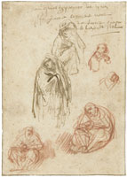 Rembrandt Studies of a Mater Dolorosa and Other Mourners Beneath the Cross
