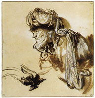 Rembrandt Head of an Oriental in a Turban, and a Dead Bird of Paradise