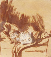 Rembrandt A Sick Woman Lying in Bed