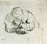 Rembrandt Sketch of a Man Leaning with Both Arms over a Table