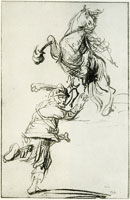 Rembrandt Soldier and Rearing Horse