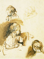Rembrandt Three Studies of a Child, One Study of a Woman