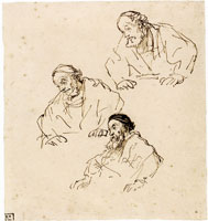 Rembrandt Three Studies for a Disciple at Emmaus