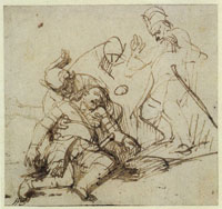 Rembrandt Wounded Warrior Falling, Supported by a Comrade