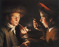 Willem van der Vliet A Man Smoking and Another Man Eating by Candlelight