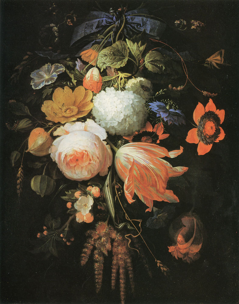 Abraham Mignon - A Hanging Bouquet of Flowers