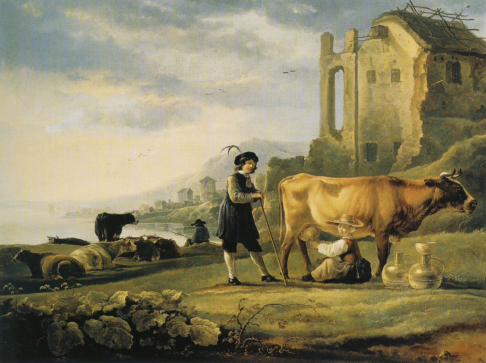 Aelbert Cuyp - Landscape with Maid Milking a Cow