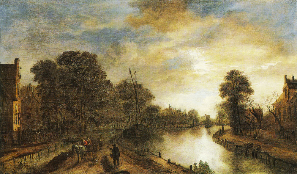 Aert van der Neer - Moonlit landscape with a road beside a canal
