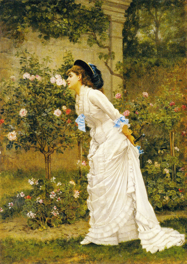Auguste Toulmouche - A Girl and Roses