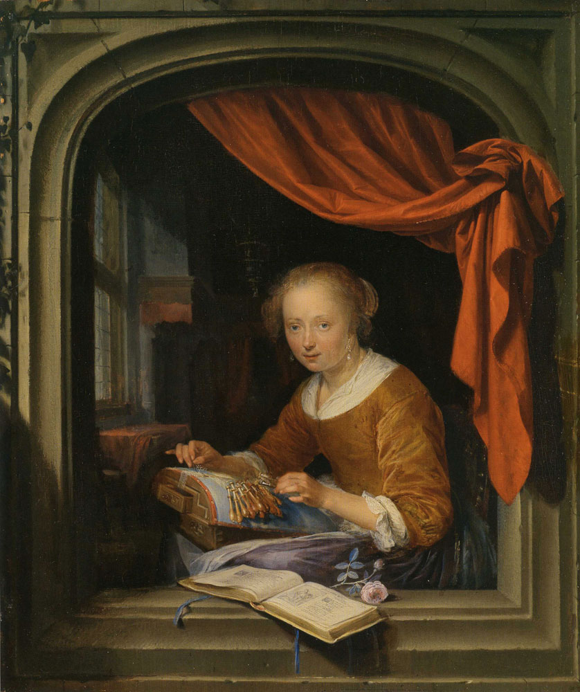 Gerard Dou - A Lace Maker at a Window