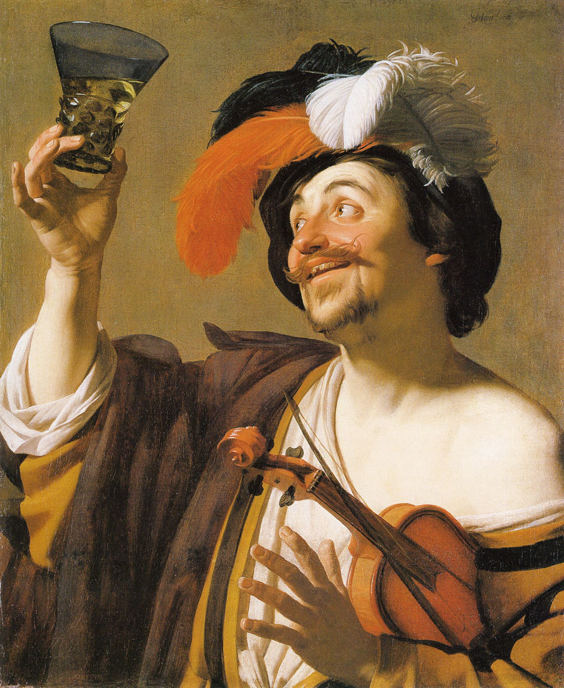 Gerard van Honthorst - Violinist with a wine glass