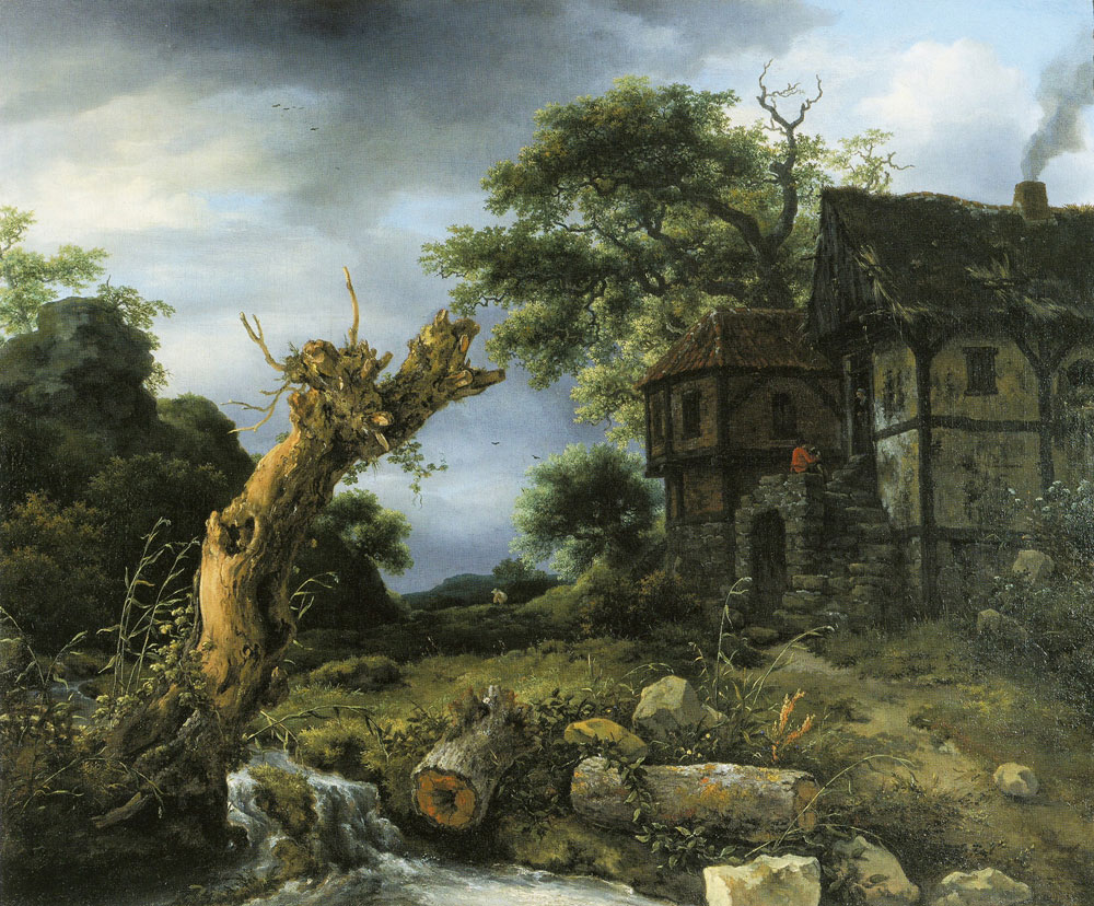 Jacob van Ruisdael - Landscape with a Half-Timbered House and a Blasted Tree