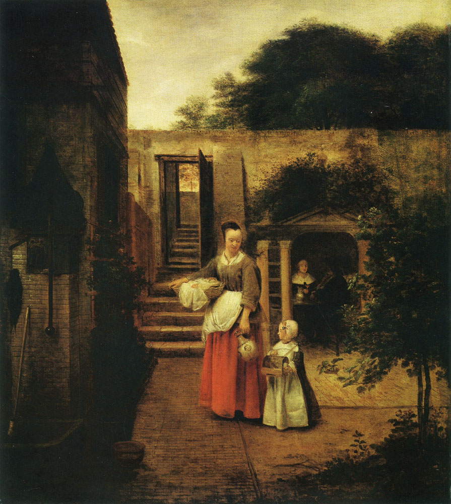Pieter de Hooch - Woman and Child in a Courtyard