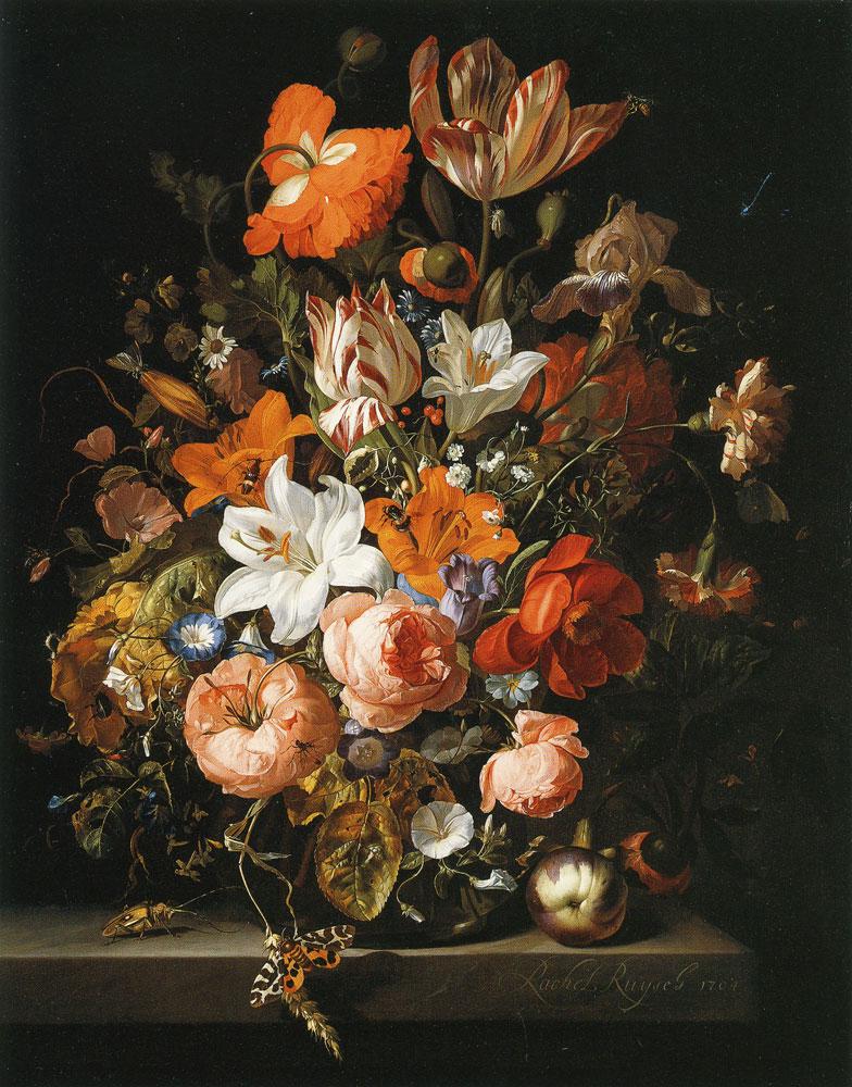 Rachel Ruysch Flowers In A Glass Vase