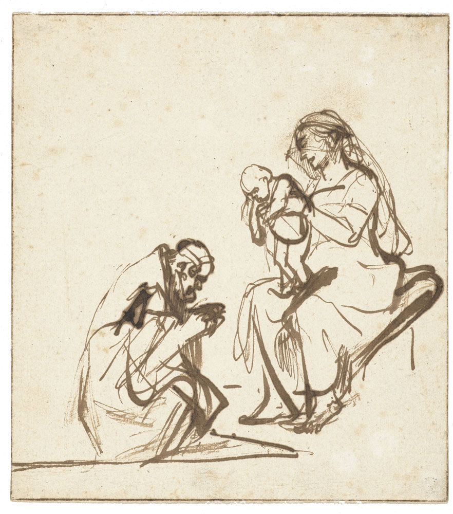 Rembrandt - Study for an Adoration of the Magi