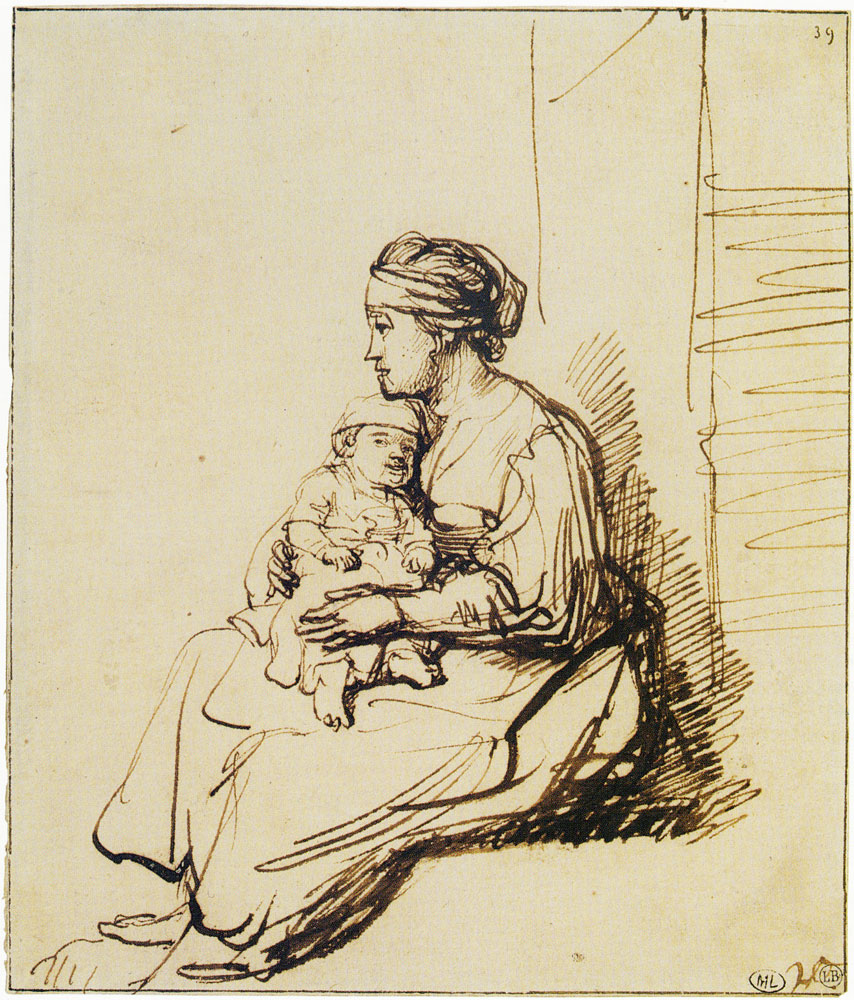Rembrandt - A Woman with a Little Child on her Lap