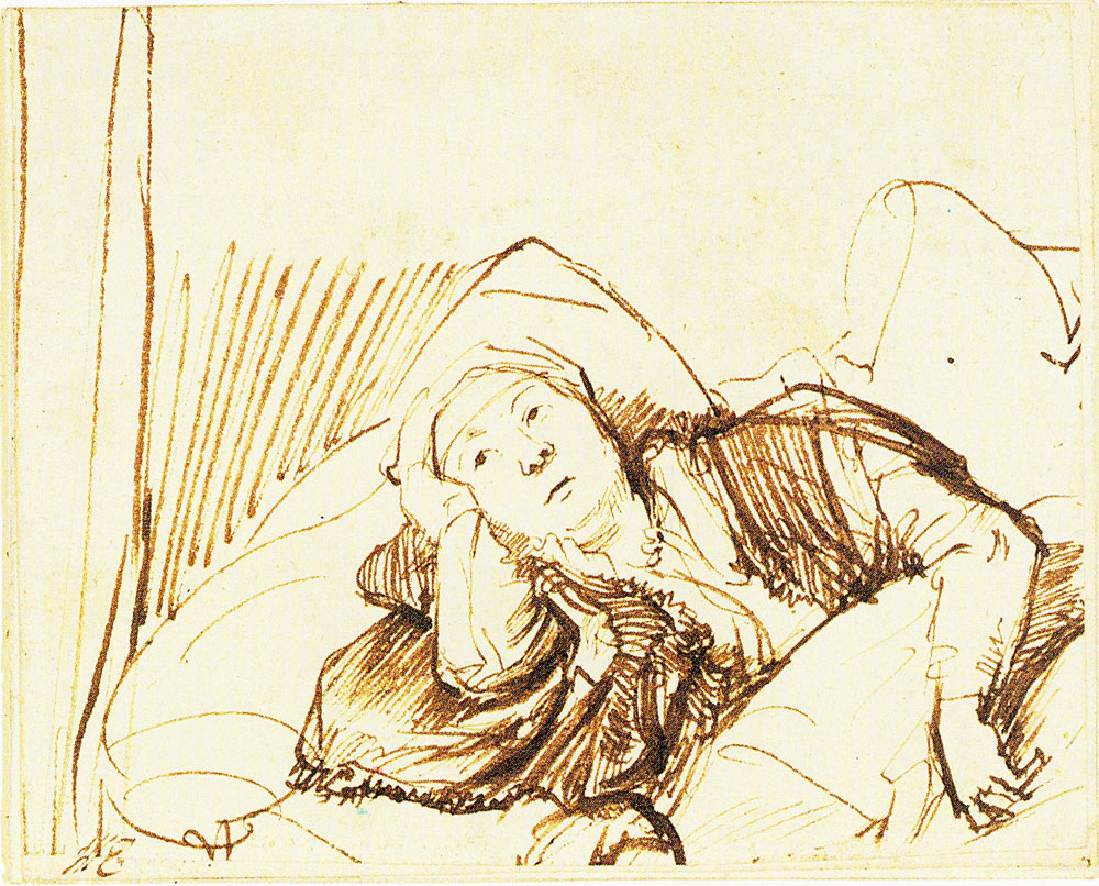Rembrandt - A Woman Lying Awake in Bed