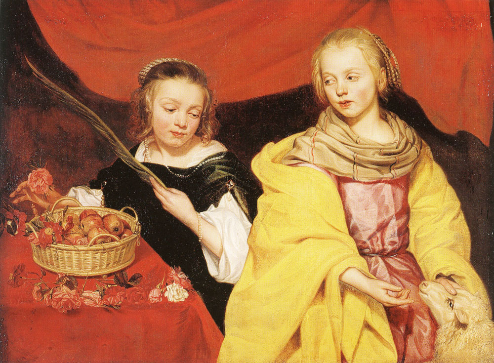 Thomas Willeboirts Bosschaert - Two Girls as Saint Agnes and Saint Dorothy