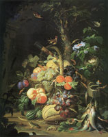 Abraham Mignon - Still Life with Fruit, Fish, and a Nest