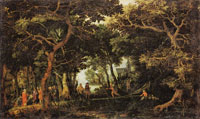 David Vinckboons Forest Landscape with Two of Christ's Miracles