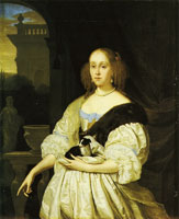Frans van Mieris the Elder Portrait of a woman with a lap-dog