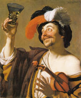 Gerard van Honthorst Violinist with a wine glass
