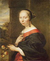 Govert Flinck Portrait of a lady with peaches